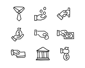 money hand drawn icon set design illustration, hand drawn style design, designed web and app