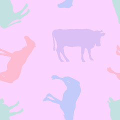Seamless pattern. Silhouettes of horses and cows.