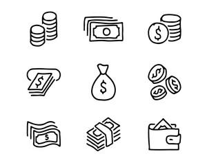 money hand drawn icon set design illustration, hand drawn style design, designed web and app