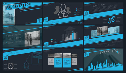 Blue, gray, elements for infographics on a dark background. The best set of presentation templates. Presentation, leaflet and flyer, corporate report, marketing, advertising, supernova, annual report