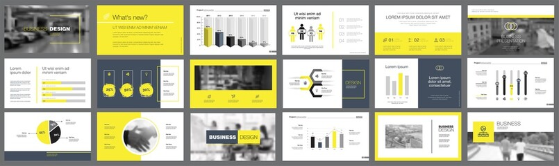 Black and yellow marketing or analysis concept infographics set