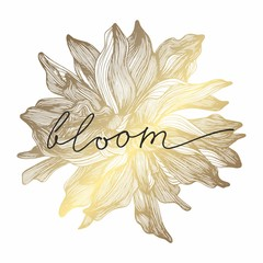 A golden flower. Vector illustration. Hand drawing