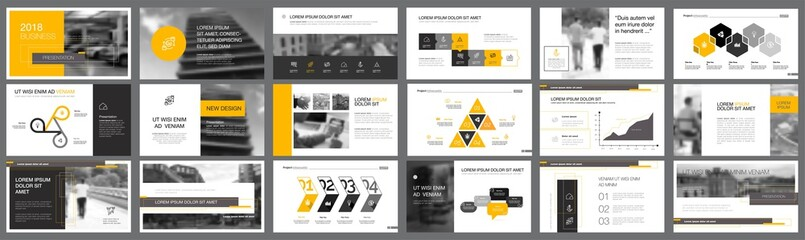 Black and yellow marketing or finance concept infographics set