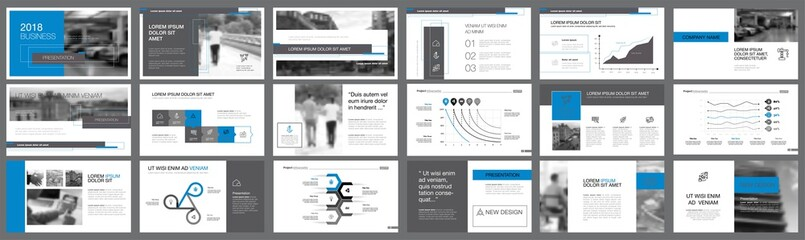 Blue and grey consulting or marketing concept infographics set