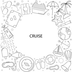 Cruise background from line icon. Linear vector pattern