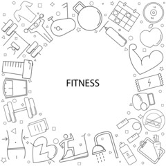 Fitness background from line icon. Linear vector pattern