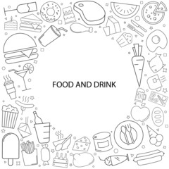 Food and drink background from line icon. Linear vector pattern