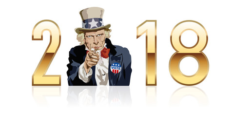 2018-Oncle sam - USA Vote