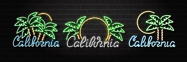 Vector set of realistic isolated neon sign of California logo with palm and sun for decoration and covering on the wall background. Concept of beach, surfing and summer.