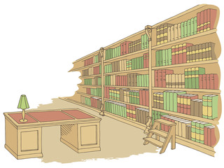 Library room interior color graphic sketch illustration vector