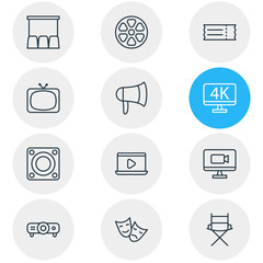 Vector illustration of 12 film icons line style. Editable set of megaphone, movie on laptop, director chair and other icon elements.