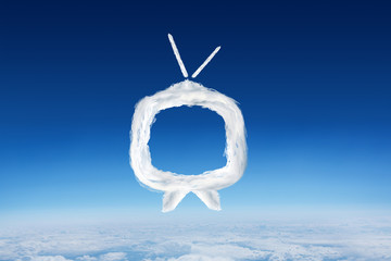 Cloud tv against blue sky over clouds at high altitude