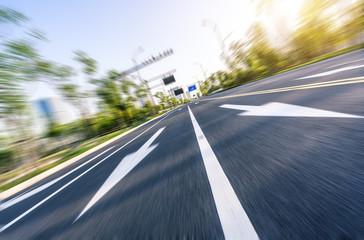 high speed view of asphalt road