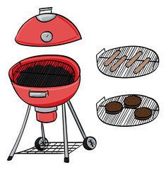 Barbecue with hot dogs and burgers
