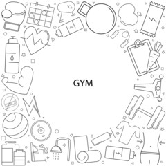 Gym background from line icon. Linear vector pattern