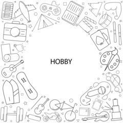Hobby background from line icon. Linear vector pattern