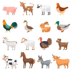 Agricultute animals color flat icons set
