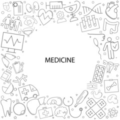 Medicine background from line icon. Linear vector pattern