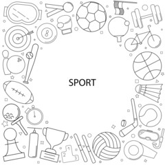 Sport background from line icon. Linear vector pattern