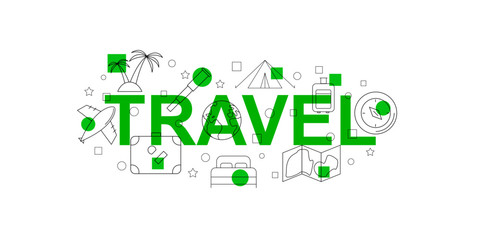 Travel vector banner. Green word with line icon. Vector background