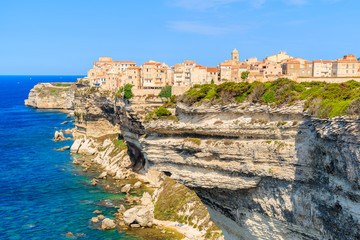 View of Bonifacio town located on high cliff above sea, Corsica island, France