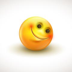 Cute smiling emoticon, emoji, smiley - vector illustration