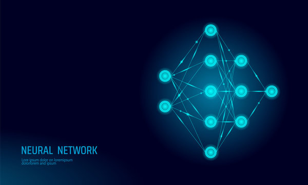 Neural net. Neuron network. Deep learning. Cognitive technology concept. Logical artificial intelligence memory processor mathematics.Blue neon color glowing vector illustration