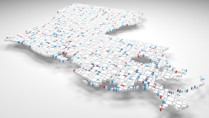 3D Map of Louisiana - USA | 3d Rendering, mosaic of little bricks - White and flag colors. A number of 3684 little boxes are accurately inserted into the mosaic