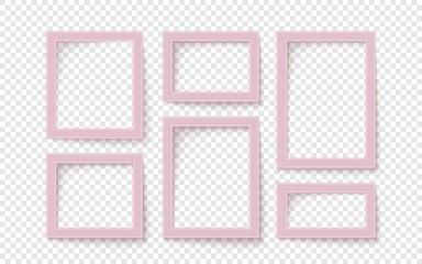 Six pink rectangular blank photo frame templates isolated on transparent background Vector illustration Eps 10