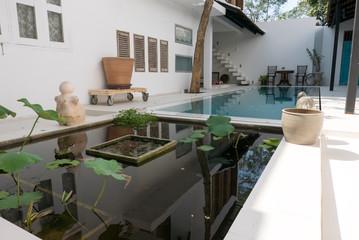 Modern luxury white villa with pool
