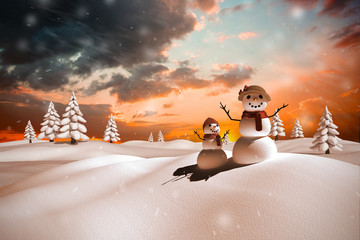 Composite image of snow family against orange and blue sky with clouds
