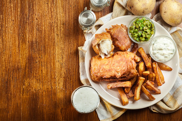 Traditional fish in beer batter and chips