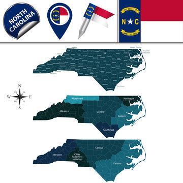 Map of North Carolina with Regions