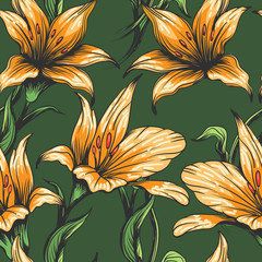 Orchid Flowers seamless pattern