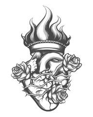 Sacred Heart Engraving Illustration