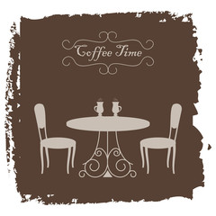 """Beige shapes of coffee table and chairs on a brown grange background. There are also cups of coffee and text """"Coffee time"""" in the picture. Vector illustration."""