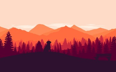 Mountains landscape. Dog sitting on a grass in the mountains. Vector