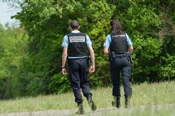 Mulhouse - France - 29 April 2018 - french gendarmerie patrol with bulletproof vests in border forest