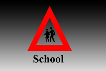 School ahead sign on a reddish gradient type background with written school.