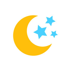 Nighttime moon and stars vector icon in flat style. Lunar night illustration on white isolated background. Moon business concept.