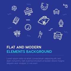 transports, valentine, kids and toys outline vector icons and elements background concept on blue background.Multipurpose use on websites, presentations, brochures and more