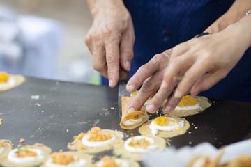 Cooking Fresh Thai Crispy Pancake
