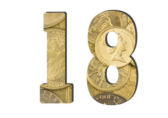 18 Number.  Shiny golden coins textures for designers. White isolate