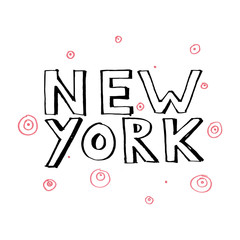Typography slogan with tropical leaves. Hand drawn New York vector for t shirt printing.