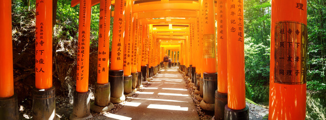 View to Torii gates in Fushimi Inari Shrine. Famous place in Kyoto, Japan