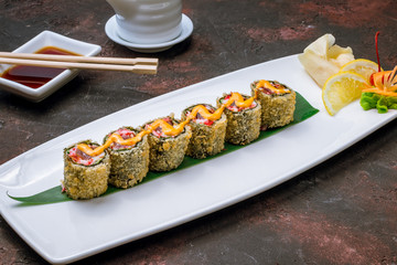 fried roll with tuna and crab