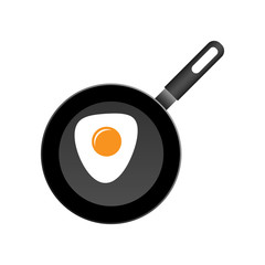 Realistic frying pan with egg icon in flat style. Cooking pan illustration on white isolated background. Skillet kitchen equipment business concept.