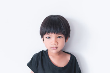 Little Asian Boy boy portrait front view on white background
