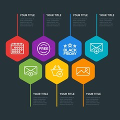 Flat geometric mobile, email, shopping infographic steps template with 7 options for presentations, advertising, annual reports