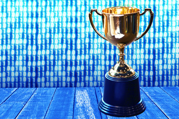 Trophy on wood plate with blue theme abstrast digital 0 abd 1 background